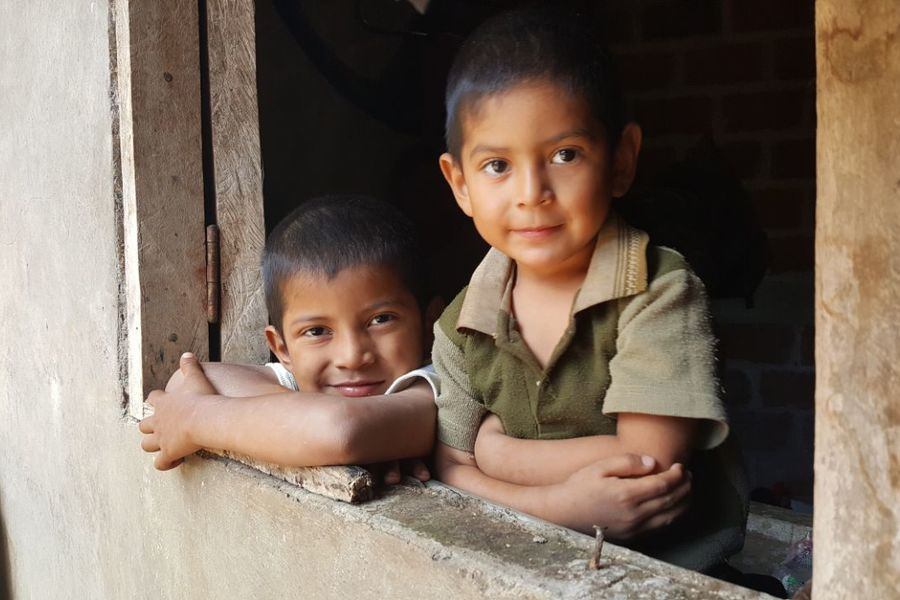 two boys in window of home